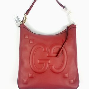 Gucci Apollo Embossed GG Red Calfskin Hobo#453562